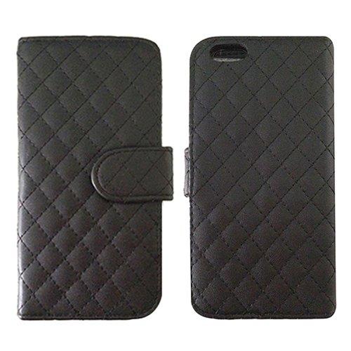 E8Q PU del tirón caso protector de cuero titular de la tarjeta magnética del caso del Monedero prueba de choques para iPhone 6 Negro