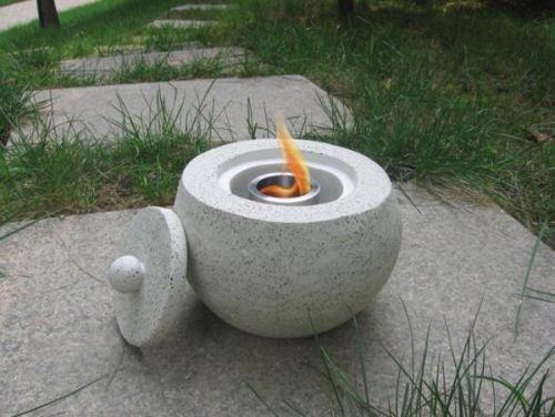 Deeco Terrazzo Concrete Stone Fire Pot - Light Grey