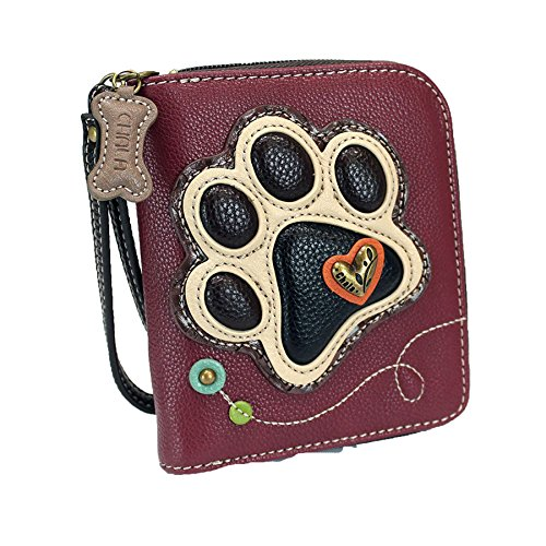 (Chala Zip Around Wallet, Wristlet, 8 Credit Card Slots, Sturdy Pu Leather, Paw Print -)