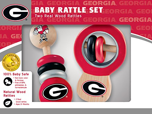 MasterPieces NCAA Georgia Bulldogs Real Wood Baby Rattles (2-Pack)