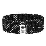 Plus Size Stretchy Cinch Belt Wide Metal Interlock Buckle Black Size 2XL BP606-1