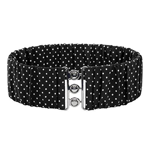 Beaux Dot (Women's Retro Vintage Wide Hook Polka Dots Waistband Belts Black Size M BP606-1)