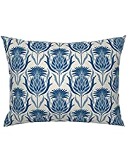 Victorian Inspired Pillow Sham - Blue Thistle by Katie_Hayes - Flower Damask Cream Blue Cotton Sateen Pillow Sham Bedding