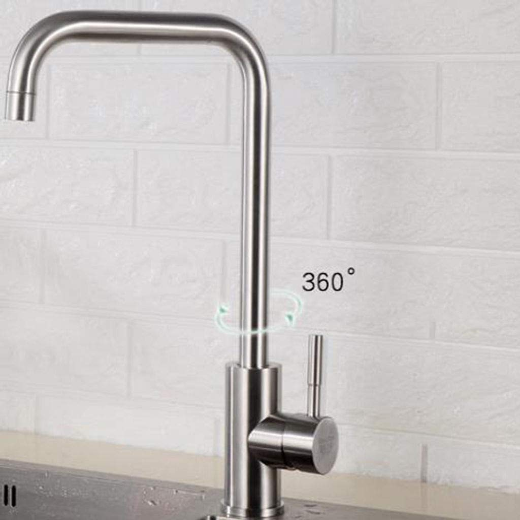 A 304stainless Steel Kitchen Sink Faucet, Hot and Cold Washbasin Hose with Drain Assembly Head hot and Cold Stainless Steel hot and Cold Kitchen Faucet High arc with Drain Assembly -D