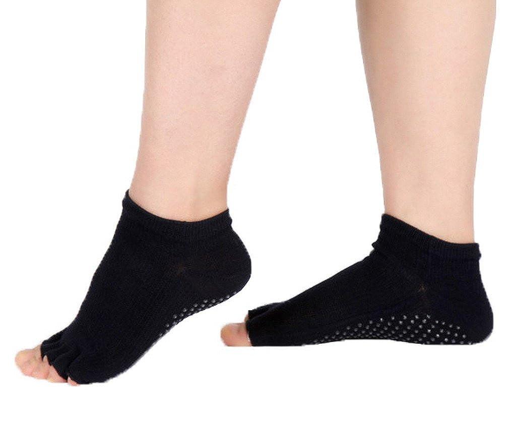COMVIP Chaussettes Bout Ouvert Femme Yoga Anti-d/érapante Socquettes Orteils Sport Coton