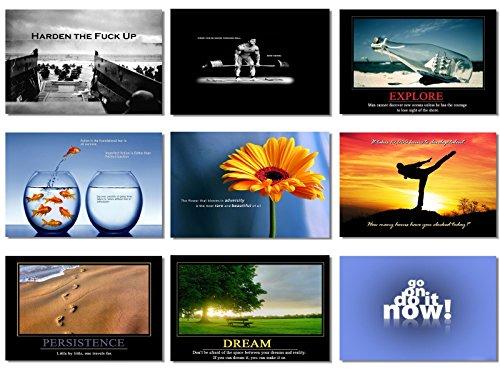 "9x Poster Motivational Self Positive Office Quotes Inspirational Success Teamwork Dream Focus Responsibility Prints 35.5x23.5"" (90x60cm) E397(10-18)"