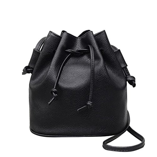 (Hot Sale! Women Bucket Bag, Neartime Fashion Soft Handle Leather Pure color Shoulder Bag String Messenger Bag Satchel Backpack (❤️25cm(L)×13cm(W)×21cm(H), Black))