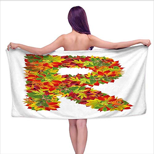 (Bensonsve Print Bathroom Accessories Set Letter R,Floral R Made with Maple Leaves Bouquet Essence Autumn Inspirations Initials Theme,Multicolor,W28 xL55 for Baby Girl)