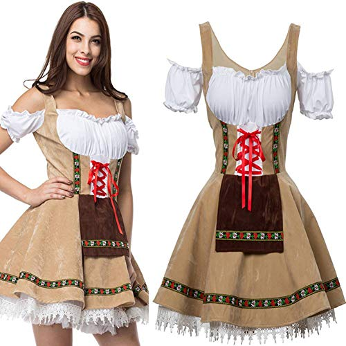 Women's Fancy Dress Halloween Party Beer Maid Waitress Uniform Cosplay Short Skirt Outfit Adult Costume Dress Up Drama -