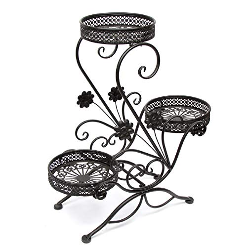 Dazone® 3-Tiered Scroll Decorative Metal Garden Patio Standing Plant Flower Pot Rack Display Shelf Holds 3-Flower Pot (Black)