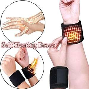 Terapia magnética de autocalentamiento Muñequera Cinturón de protección deportiva Cinturón de muñeca profesional Accesorios para interiores al aire libre, 1 par