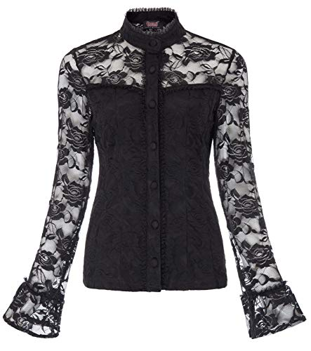 Women Vintage Gothic Long Sleeve Stand Collar Patchwork Lace Tops Black