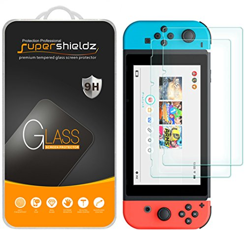 [2-Pack] Supershieldz for Nintendo Switch Screen Protector, [Tempered Glass] Anti-Scratch, Anti-Fingerprint, Bubble Free,