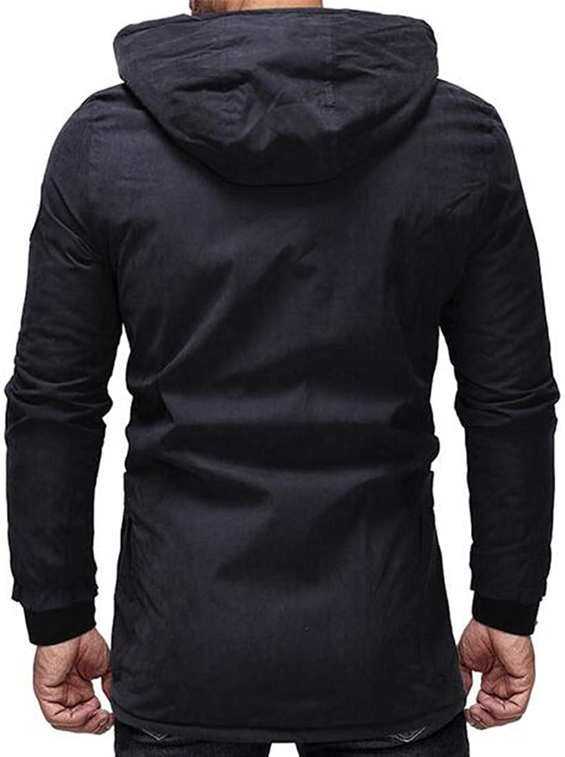 YUELANDE Men Hooded Sherpa Long Sleeve Zipper Mid-Long Pockets Cotton Coat