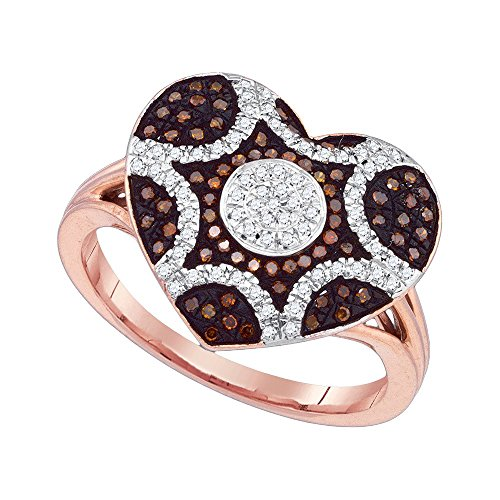 10kt Rose Gold Womens Round Red Colored Diamond Starburst Heart Cluster Ring 1/3 Cttw by JawaFashion