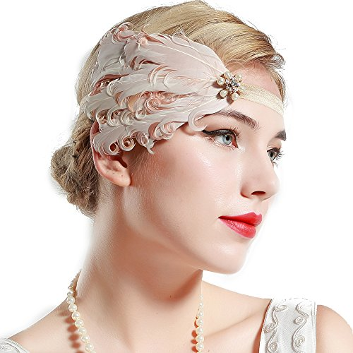 BABEYOND 1920s Flapper Headband Roaring 20s Great Gatsby Headband Pink Peacock Feather Headband 1920s Flapper Gatsby Hair Accessories