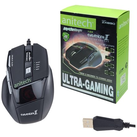 ANITECH GAMING SHURIKENII ZX890,Mouse USB Wired,Black (Ps4 Hardrive 1tb)