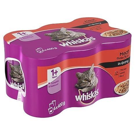Whiskas 1 + años Gato Comida latas selección de Carne en Grava, 6 x 400 g: Amazon.es: Productos para mascotas