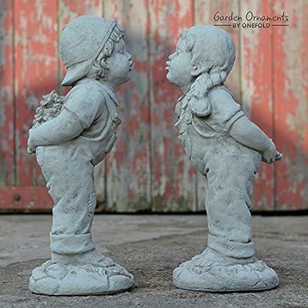 ONEFOLD   KISSING BOY U0026 GIRL   JACK AND JILL HAND CAST STONE GARDEN  ORNAMENT /