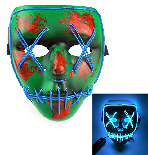 Price comparison product image Aimoly Halloween Mask Cosplay LED Glow Scary EL Wire Light up Grin Masks Festival Parties Costume