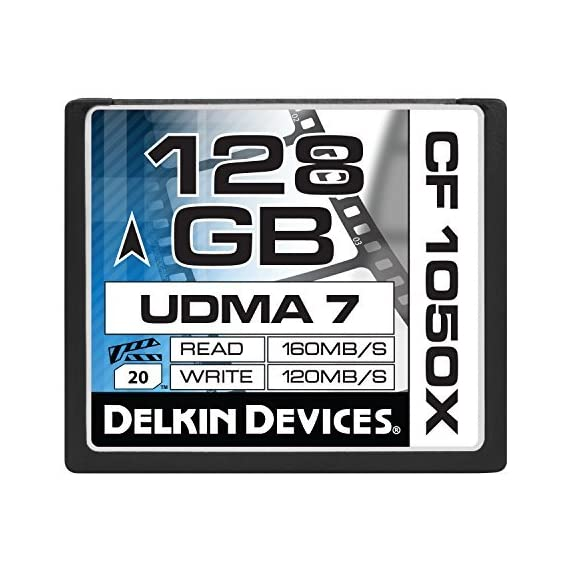 Delkin 128 GB CF 1050X UDMA 7 Cinema Memory Card (DDCF1050-128 GB) 1 4K UltraHD Approved Sustains High Frame Rates Excels in Digital Backs