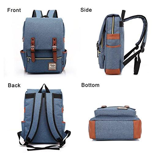 Unisex Professional Slim Business Laptop Backpack, Feskin Fashion Casual Durable Travel Rucksack Daypack (Waterproof Dustproof) with Tear Resistant Design for Macbook, Tablet - Blue by Feskin (Image #2)