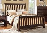 1PerfectChoice Master Bedroom California King Bed Fence Headboard Footboard Wood in Deep Espresso