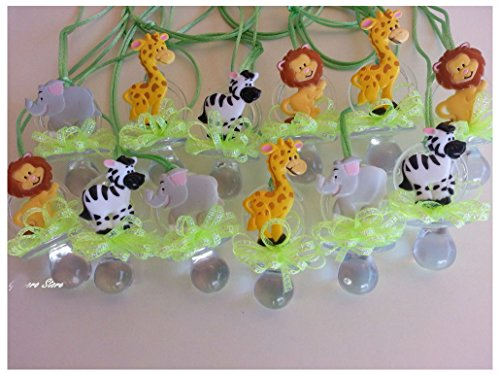 Jungle Safari NOAH'S Pacifier Necklaces Baby Shower Games Prizes Favors Animals]()