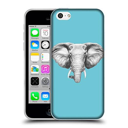 GoGoMobile Coque de Protection TPU Silicone Case pour // Q05130627 Dessin éléphant Cyan // Apple iPhone 5C