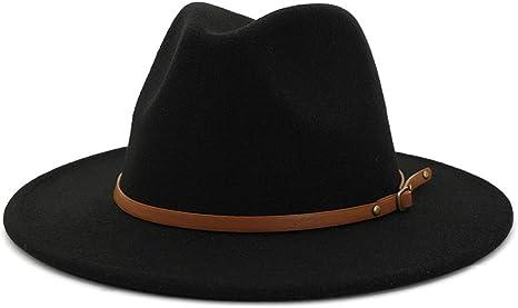 Gossifan Women Men Classic Wide Brim Fedoran Panama Hat with Belt Buckle