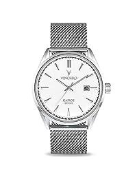 Reloj de pulsera Kairos de lujo para hombre, correa de malla de 42 mm, analógico, movimiento de cuarzo japonés de Vincero, Blanco/Plateado, 42 mm