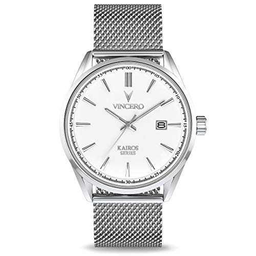 (Vincero Luxury Men's Kairos Wrist Watch - Mesh Watch Band - 42mm Analog Watch - Japanese Quartz Movement (White/Silver))