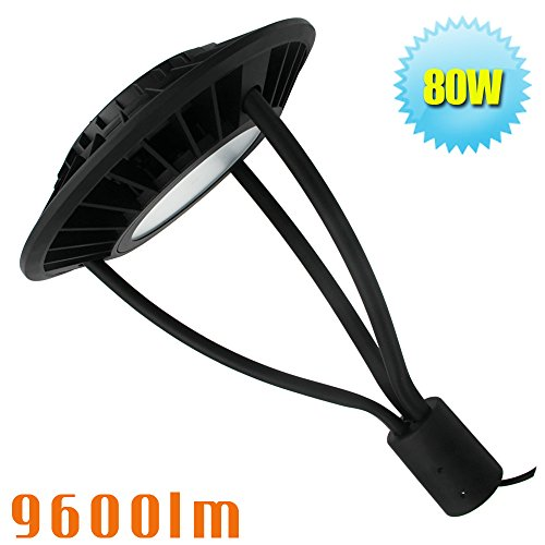 80W LED Post Top Light,Park Area Lamp 120/208/240/277 Volt 5500K Daylight Pathway Pole (Commercial Lamp Post)