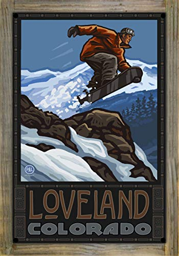 Northwest Art Mall Loveland Colorado Snowboarder Jumping Metal Print on Reclaimed Barn Wood by Paul A. Lanquist (12
