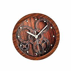Usany 5'' Dark Brown Gear Pattern Vintage Wooden Pattern Silent Non-ticking Quartz Desk Clock Alarm Clocks Round Table Clock 3D Clock Christmas Gift