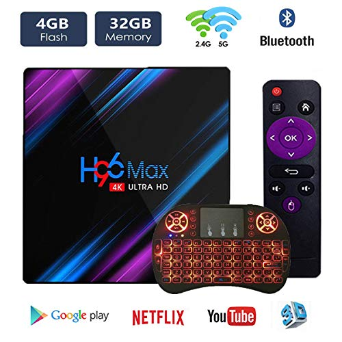 Android TV Box Android 9.0 OS Smart TV Box 4GB 32GB H96 max Support USB 3.0 BT 4.1 2.4G- 5G Dual-Band Wi-Fi 3D 4K Full…