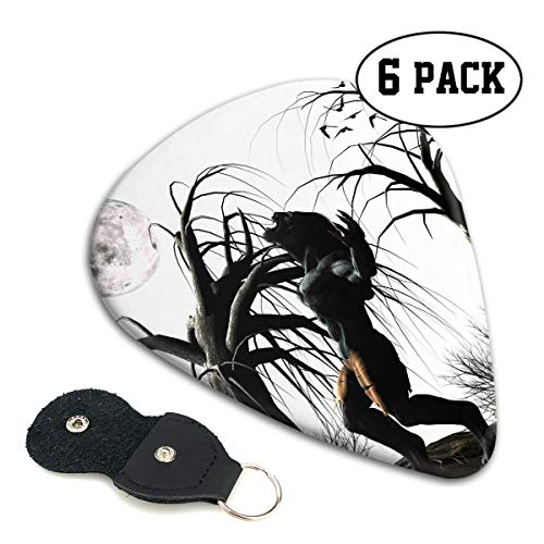 Nice Music Cool Halloween Full Moon Tree Werewolf Ultra Thin 0.46 Med 0.71 Thick 0.96mm 4 Pieces Each Base Prime Celluloid Ivory Jazz Mandolin Bass Ukelele Plectrum Guitar Pick Pouch -