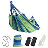 """Extra Long Double Camping Hammock with Tree Straps and Rope, 98.4'' X 59.1"""" Soft Woven Cotton with Max 475 lbs Capacity Portable 2 Person Hammock for Indoor Outdoor Backpacking Beach Backyard Hiking"""