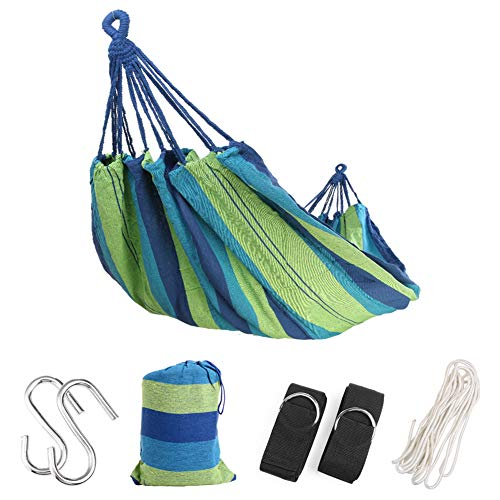 Extra Long Double Camping Hammock with Tree Straps and Rope, 98.4