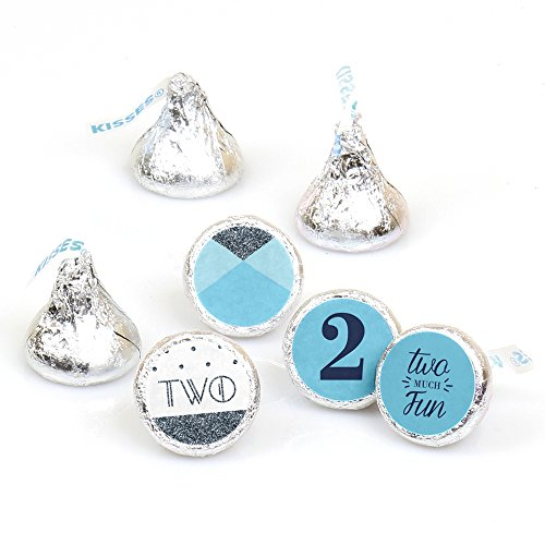 Two Much Fun - Boy - 2nd Birthday Party Round Candy Sticker Favors - Labels Fit Hershey's Kisses (1 Sheet of 108)