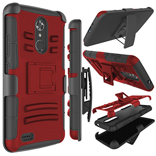 Zenic Compatible with ZTE MAX XL Case, ZTE N9560 Case, Zenic Heavy Duty Shockproof Full-Body Protective Hybrid Case Cover with Swivel Belt Clip and Kickstand Compatible with ZTE Max XL/N9560 (Red) (Phone Cases For A Boost Max Zte)