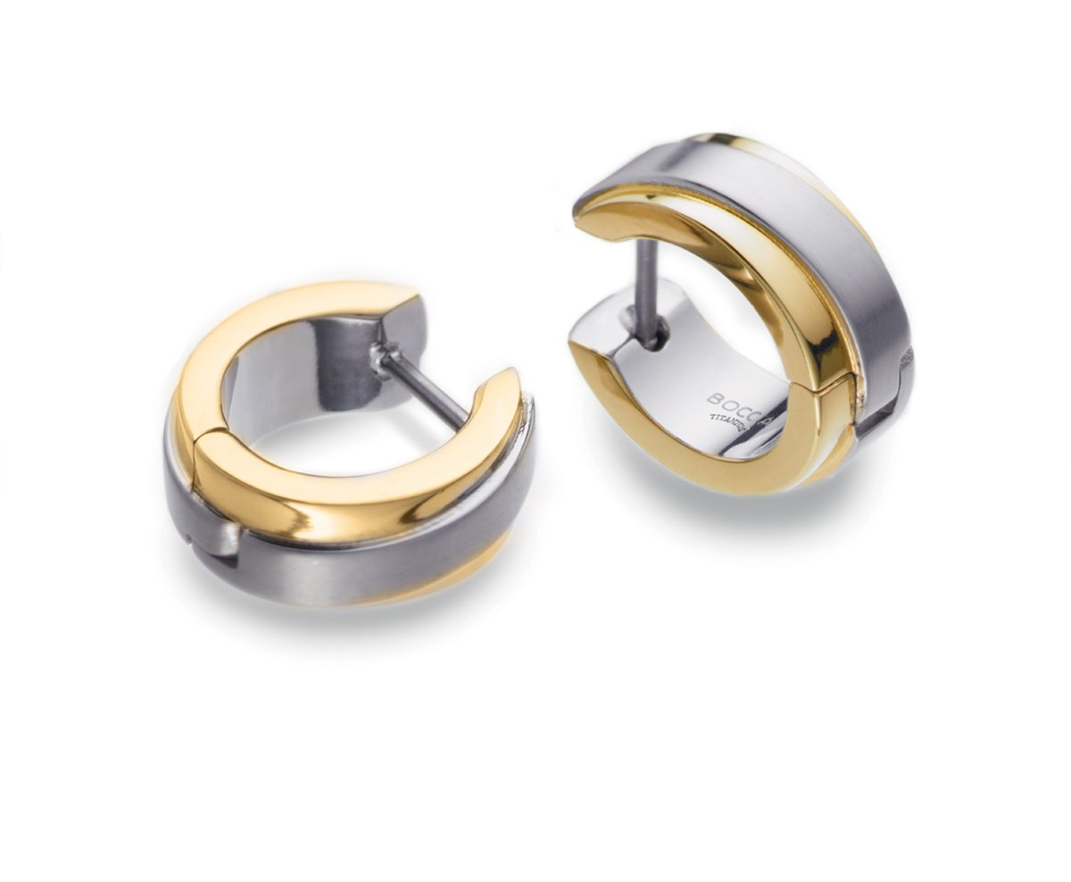 0560-02 Boccia Titanium Part Polished GP Hoop Earrings (14mm)