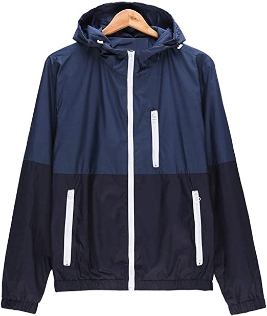 Men/'s Thin Jackets Zipper Casual Jacket Hip Hop Windbreaker Hooded Jacket Coat