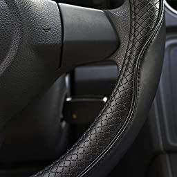 Rueesh Steering Wheel Cover - Genuine Leather, Heavy Duty, Thick, Elegant, Anti-Slip, 15 inch Middle Size - Black & Black Line
