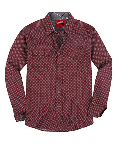 (Rodeo Clothing Mens Casual Button Down Shirts Regular Fit Printed Long Sleeve Western Shirt Burgundy144)