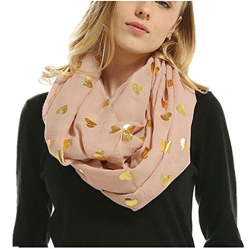 Women Soft Scarf Heart Shape Print Lightweight Shawl Bronzing Neck Wrap Scarves (Pink)