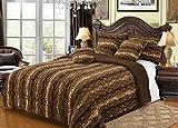 Bella Safari Plush Throw Blanket Comforter, Fur 6 Piece Set AK608 King