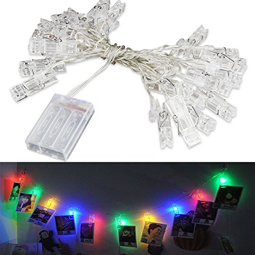 Accmor 16.4ft LED Photo Clip String Lights,Battery Operated with 20 Photo Clips for Indoor/Outdoor Halloween Decorate Photo Display, Hanging Picture, Note (UL Certified, RGB, Orange)
