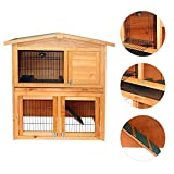 Marketworldcup - 36'' 40'' 48'' Wooden Rabbit Hutch Chicken Coop Hen House Poultry Pet Cage (40'' Rabbit Hutch)