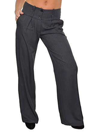 cef88c2b2083 ICE (1402-3) Dames Pantalon Large De Jambe Smart Feint Stripe filet Gris